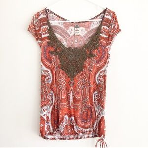 Free People scoop neck boho embroidered top. M.